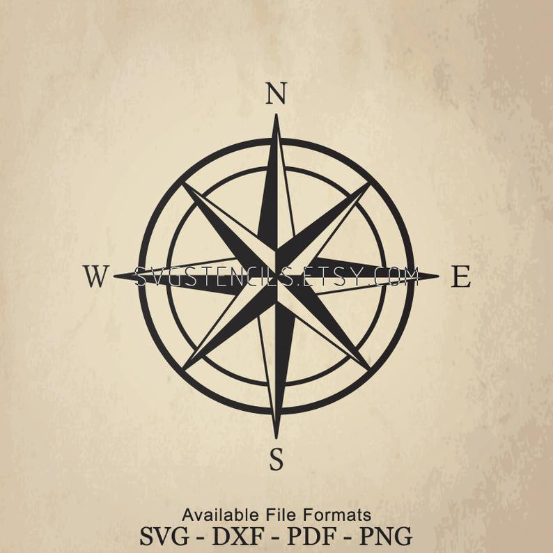SVG  Compass Star Stencil Silhouette Studio Monogram
