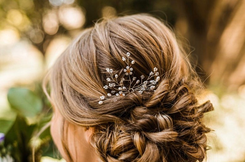 Silver Hair Pin With Pearl Baby's Breath And Delicate