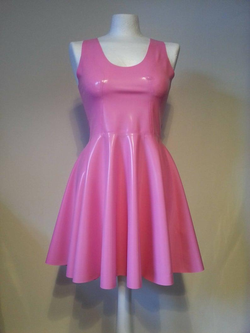 Sleeveless Latex Swing Dress