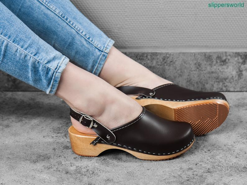 Slippers World Womens Leather Clogs Swedish Handmade Wooden