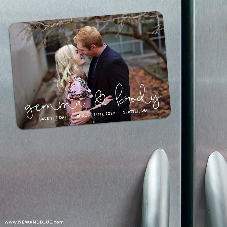 So in Love  Photo Wedding Save the Date Magnets  Envelopes