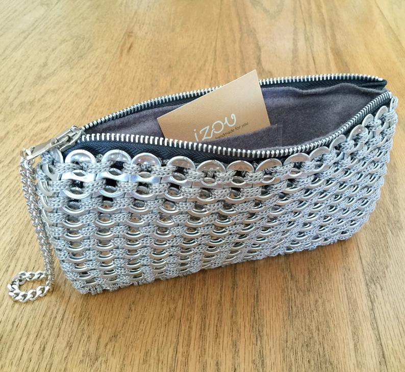 Soda Tab / Pop Tab Handmade Gray Crochet Clutch with Wristlet