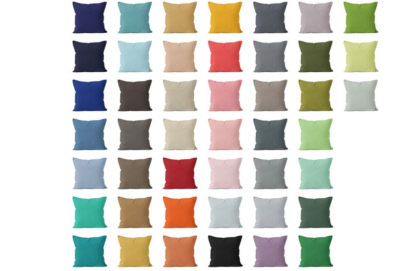 Solid Pillow Cover 54 colors available 16×16  Solid Throw