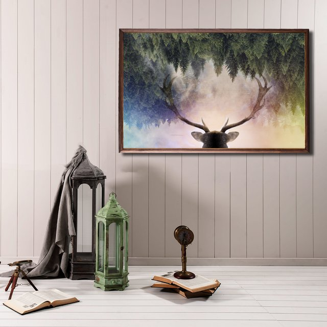 Stag Heaven Wooden Tableau Print
