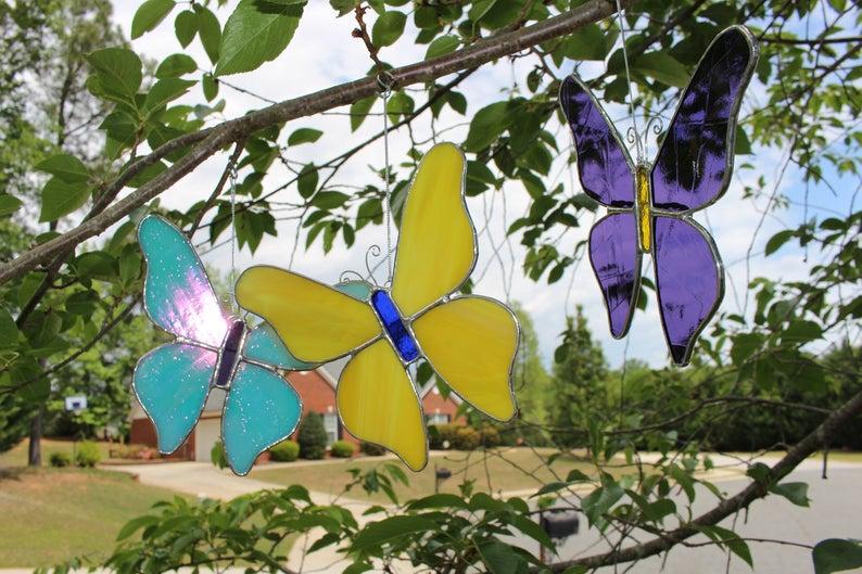 Stained Glass Butterflies suncatcher home nature gift decor