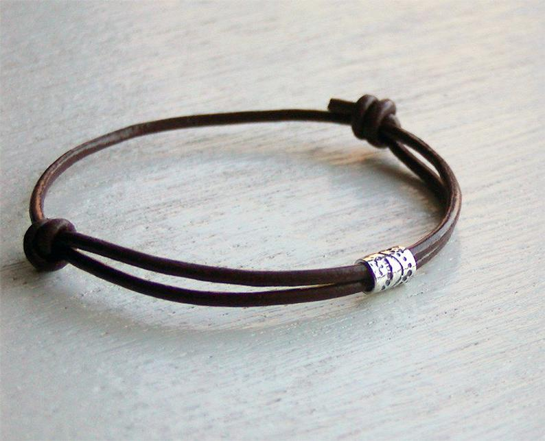 Sterling Silver Tube Bead Leather Bracelet 2 style beads and
