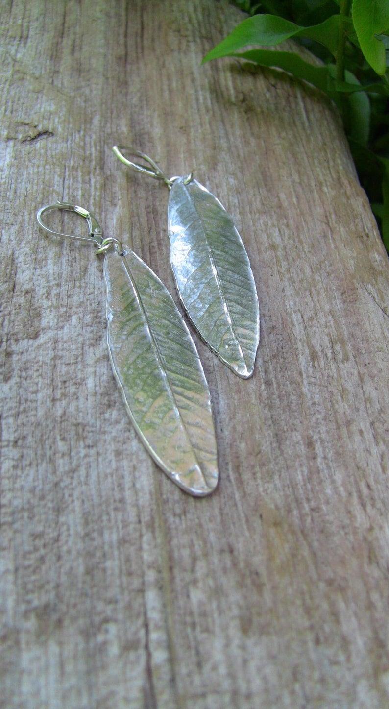 Sterling Silver Willow Leaf Earrings Leaf Earrings Silver