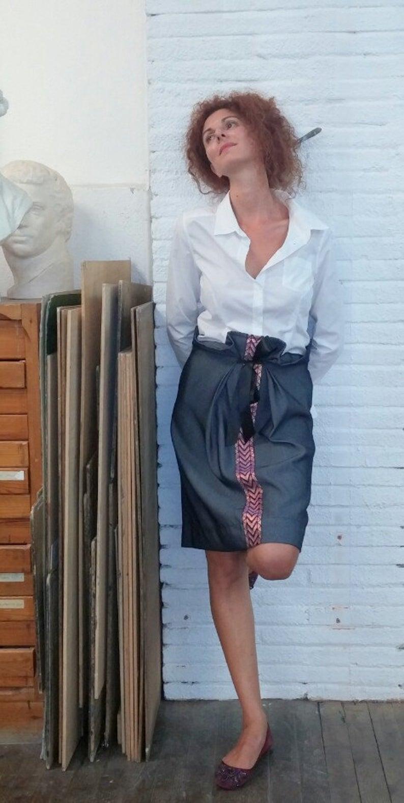 Straight skirt denim / comfortable / adjustable / shiny