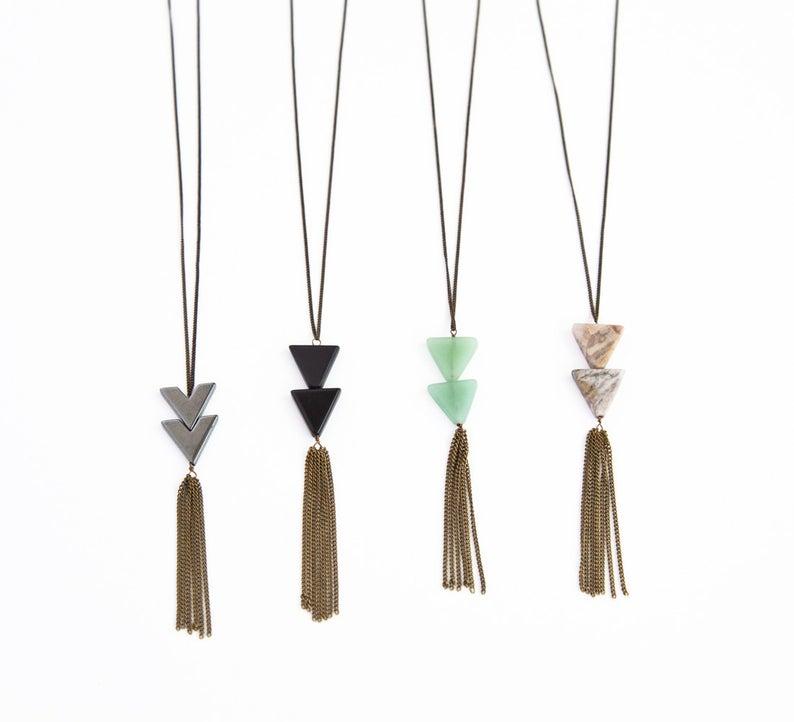 TRIANGLE TASSEL NECKLACE Triangle Stone Necklace Long Fringe
