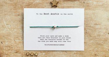 The Best AUNTIE in the World  Wish Bracelet Friendship