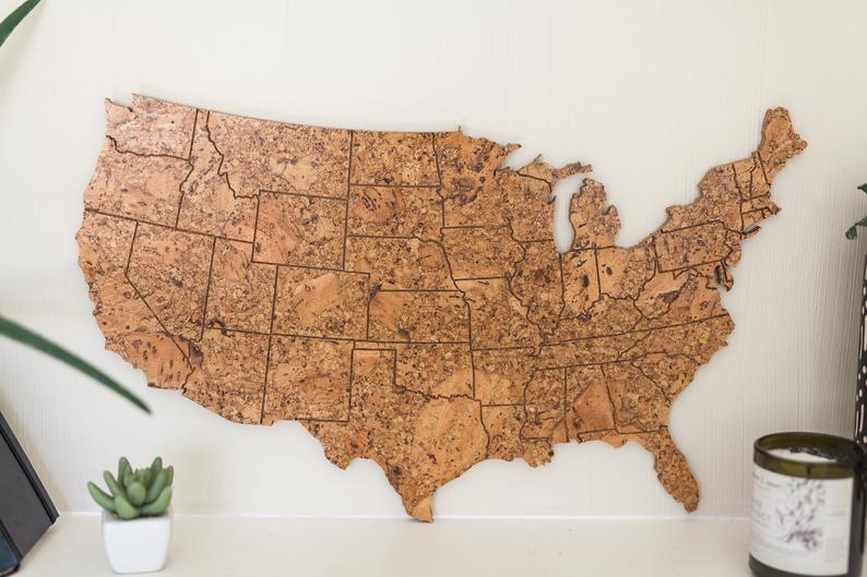 Travel Map US  Medium Size / Made of Cork / US Adventure Map