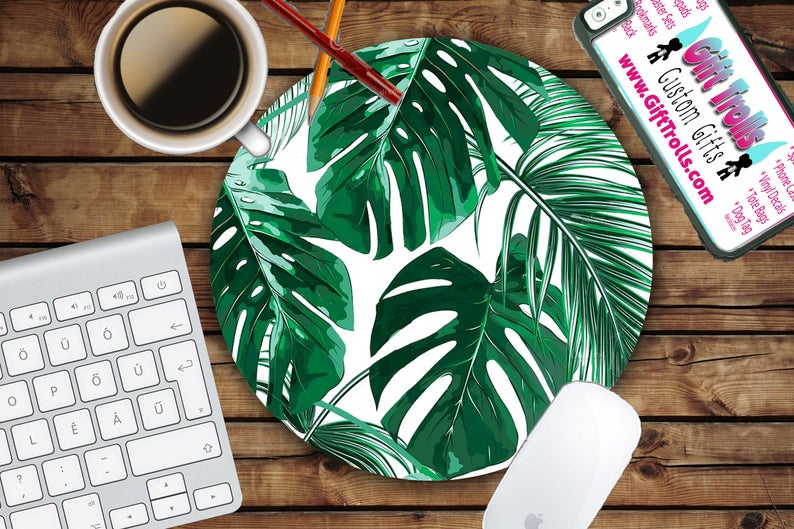 Tropical Leaf Mousepad  Mat  Round or Rectangle  Beautiful
