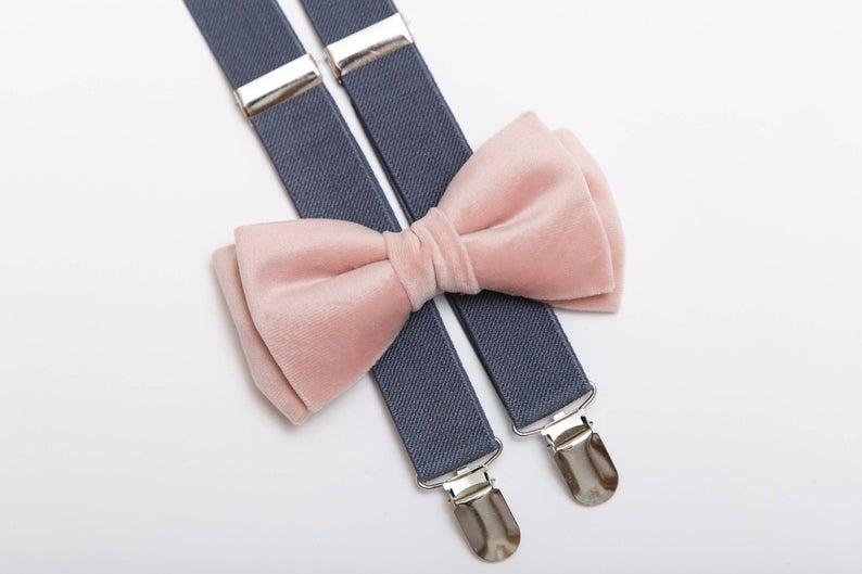 Velvet bow tie and suspenders set  Blush bow tie  Grey