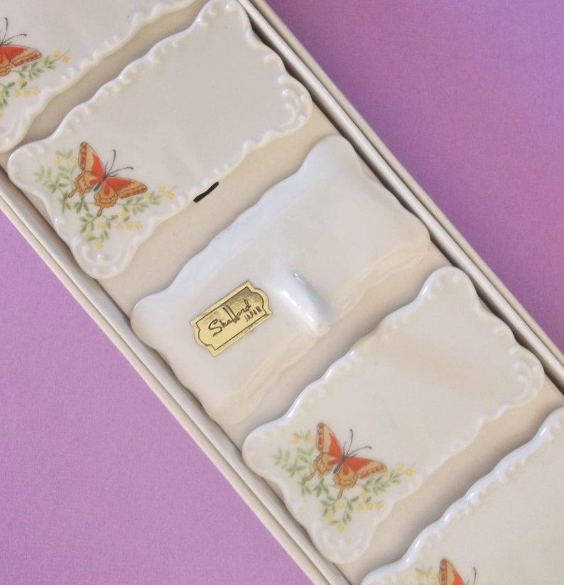 Vintage / Set of Six / Shafford Porcelain Name Plates / Place