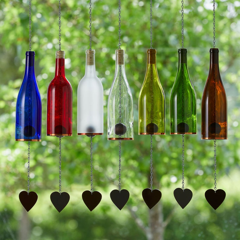 Wind Chimes Made From Glass Wine Bottles with Copper Trim