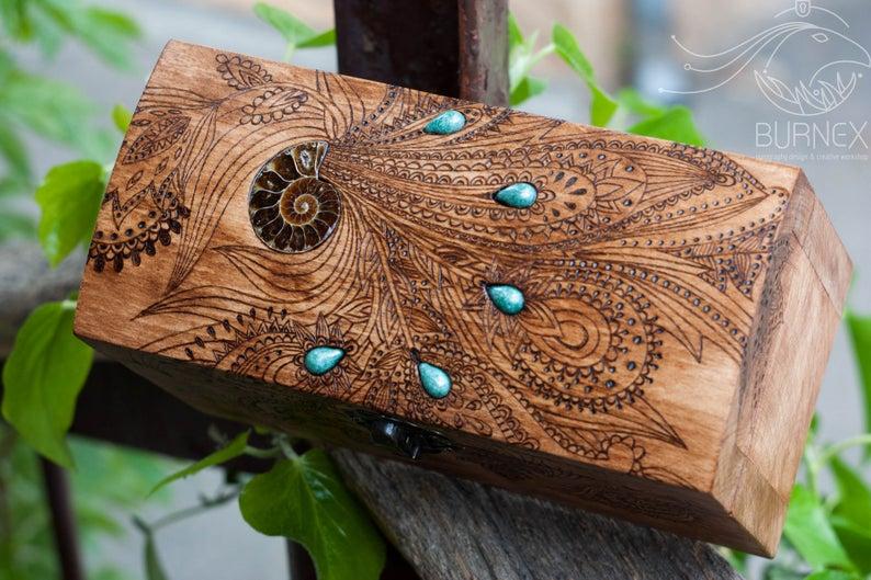 Wooden vintage jewelry box  custom keepsake box  with