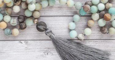 Amazonite tassel necklace / Long earth tassel necklace / Hand