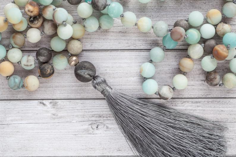 Amazonite tassel necklace / Long earth tassel necklace / Hand