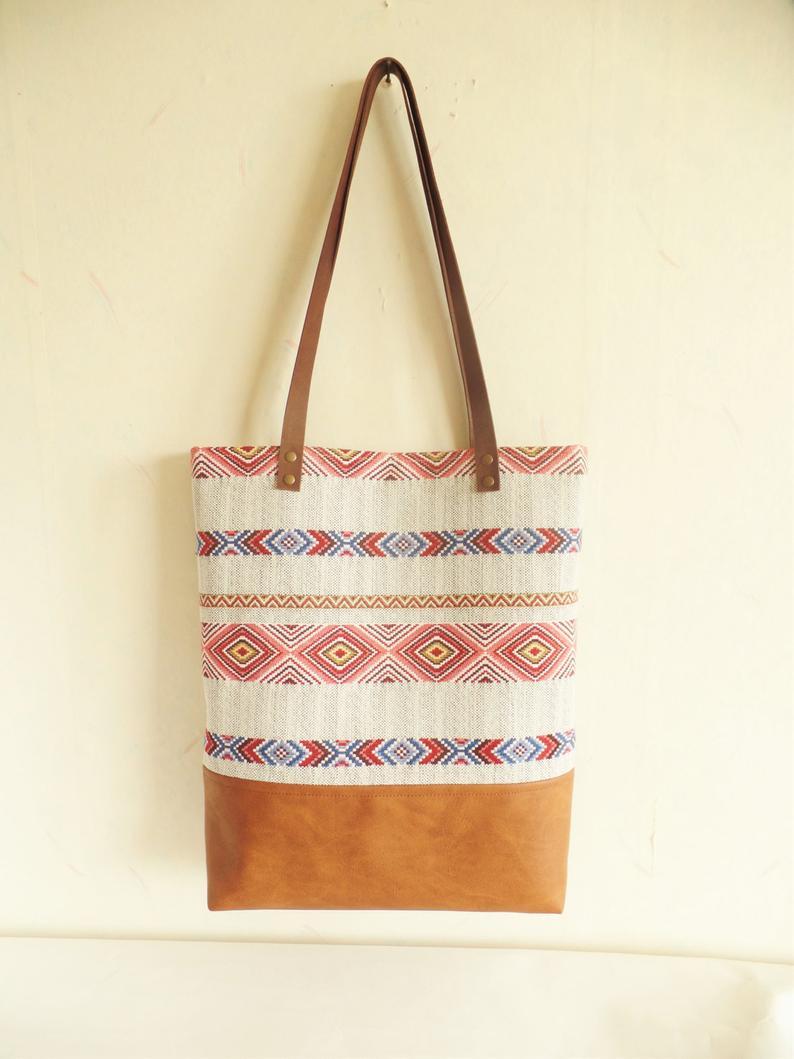 Aztec tote bag Tribal print purse Geometric print tote bag