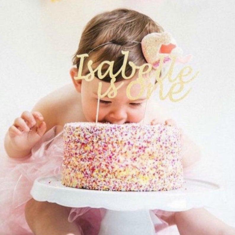 BIRTHDAY CAKE TOPPER. Name & Age Cake TopperFirst Birthday