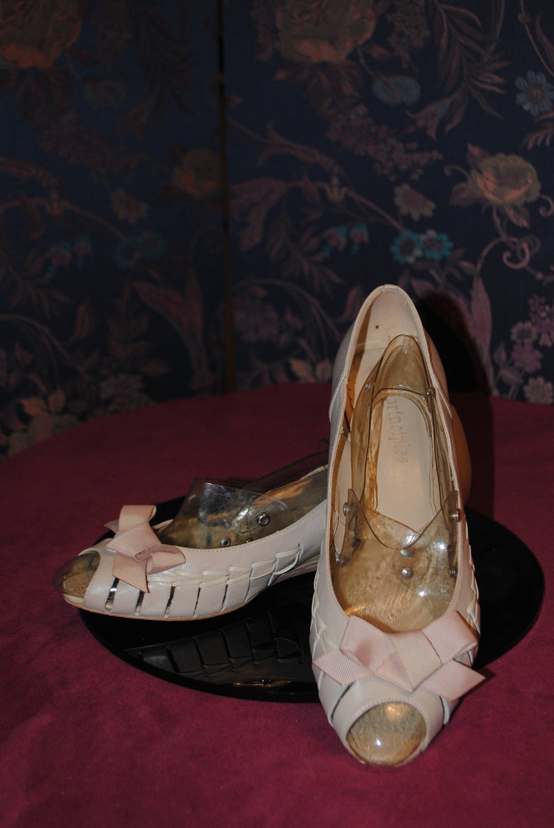 Ballerina ecru leather wedge/1980/size: 40