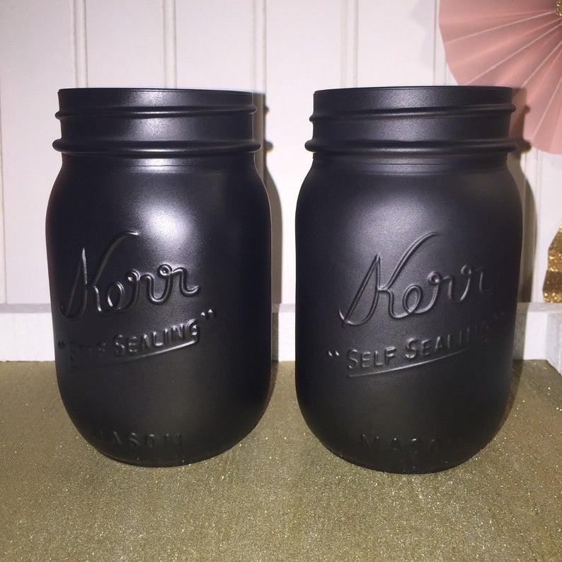 Black mason jarBar DecorWedding Decor  Home Decor Vase