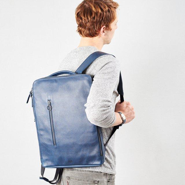 Blue Leather Saola Tech Backpack