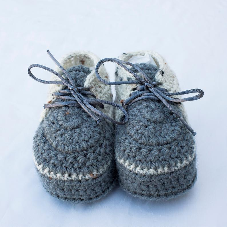 Boy Grey Shoes Boy Shoes Crochet Boy Shoes Baby Boy Shoes