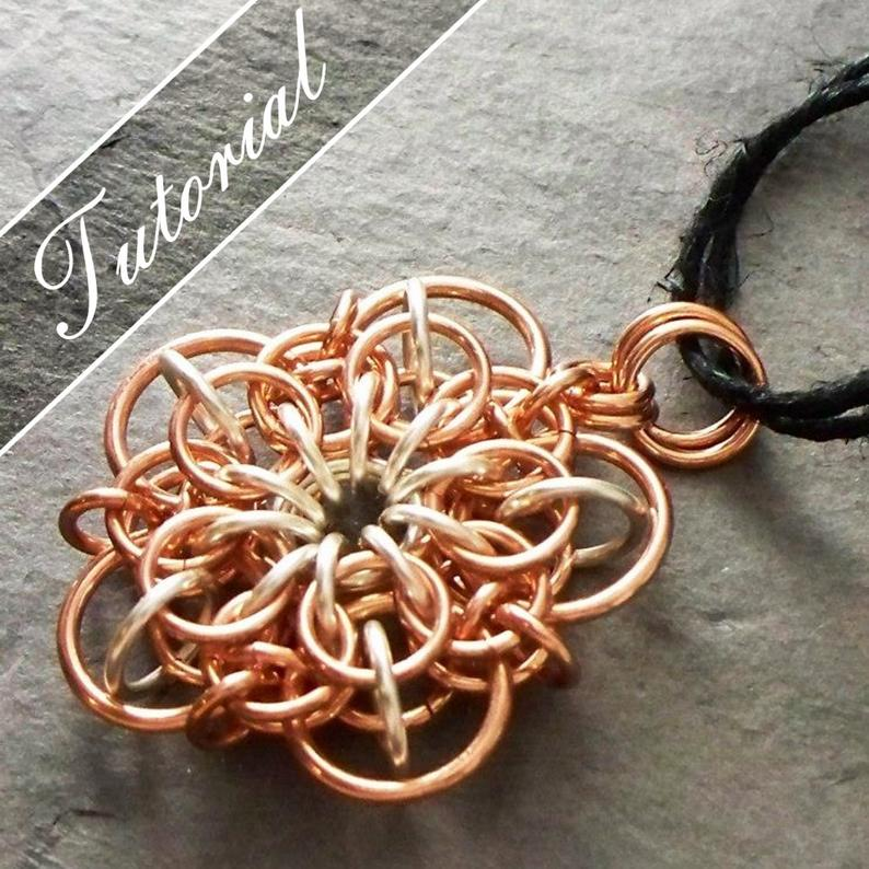 Chainmaille Tutorial Flower Pattern Chain Mail Pendant Helm