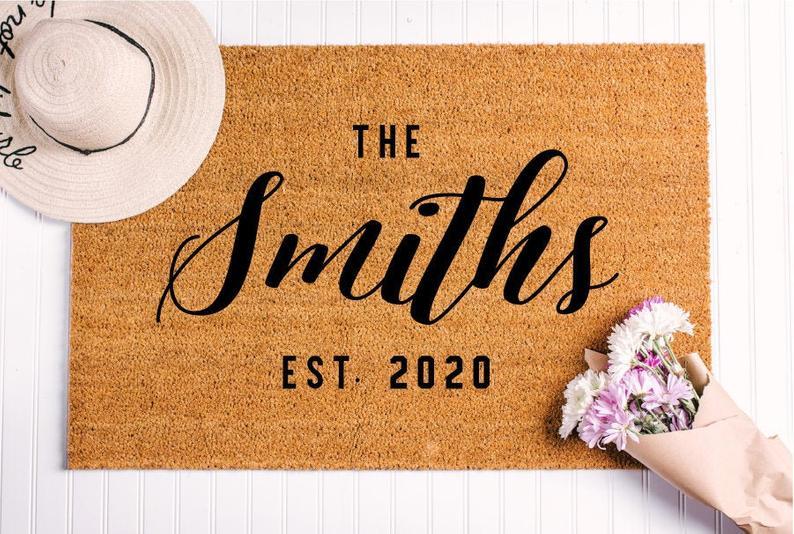 Closing Gift Idea Personalized Last Name Doormat Custom