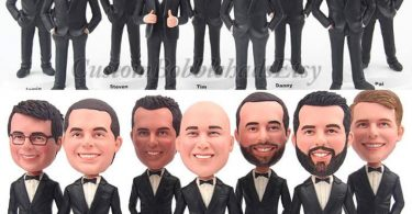 Custom Bobblehead groomsmen wear black suit  Groomsmen