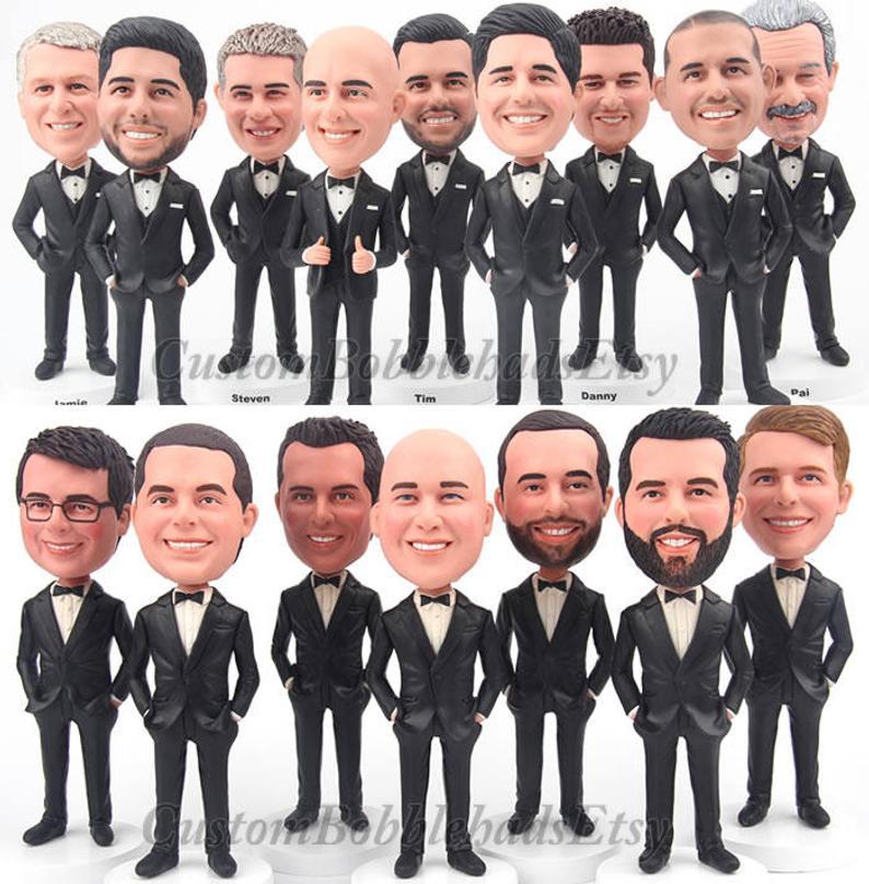 Custom Bobblehead groomsmen wear black suit  Groomsmen