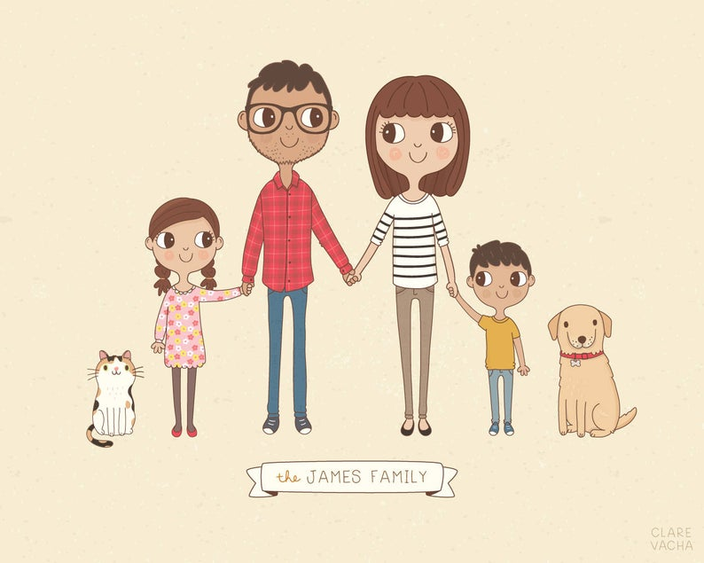 Custom Family Portrait Illustration Personalised Digital
