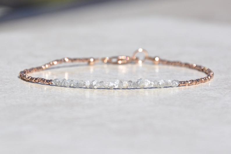 Diamond Bracelet Raw Rough Diamond Rose Gold Jewelry April