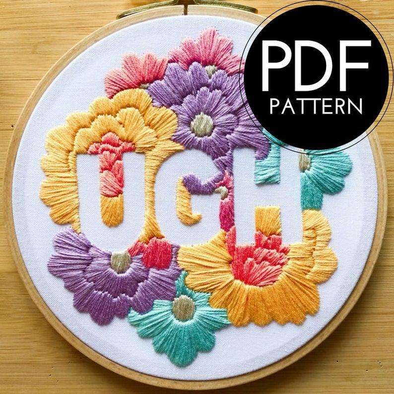 Digital hand embroidery pattern  floral pastel ugh design