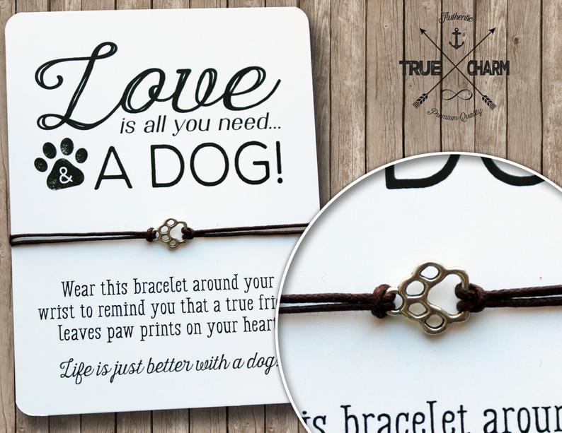 Dog lover gift  Dog paw bracelet  Dog tag bracelet  Dog
