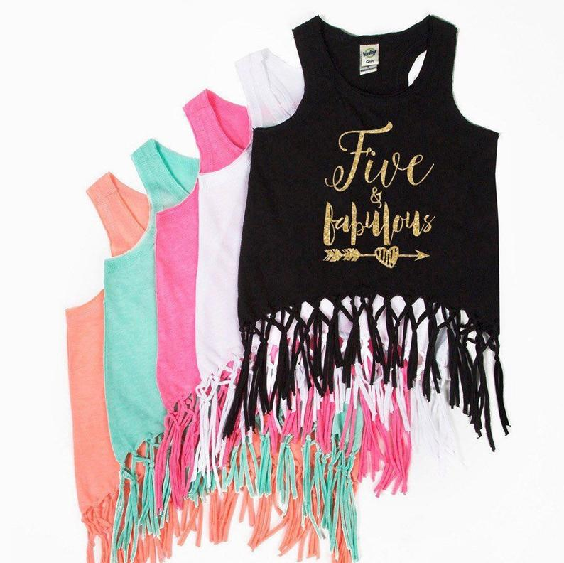 Five and Fabulous  Fringe Tank Top  FIVE  5th Birthday