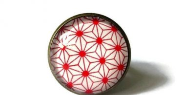 GEOMETRIC RING  red JAPANESE ring  Boho ring  gypsy ring