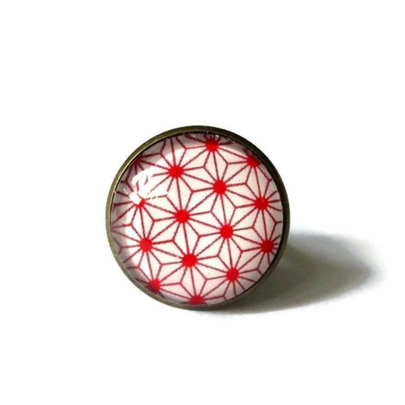 GEOMETRIC RING  red JAPANESE ring  Boho ring  gypsy ring