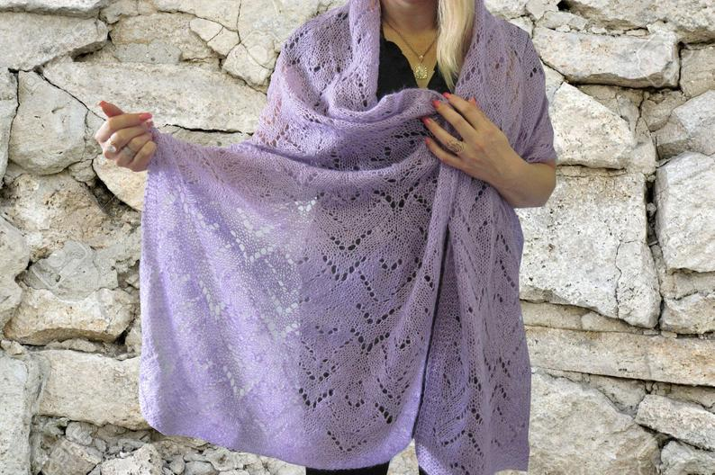 Gift for her knit scarf women knitted shawl Wedding lace Women