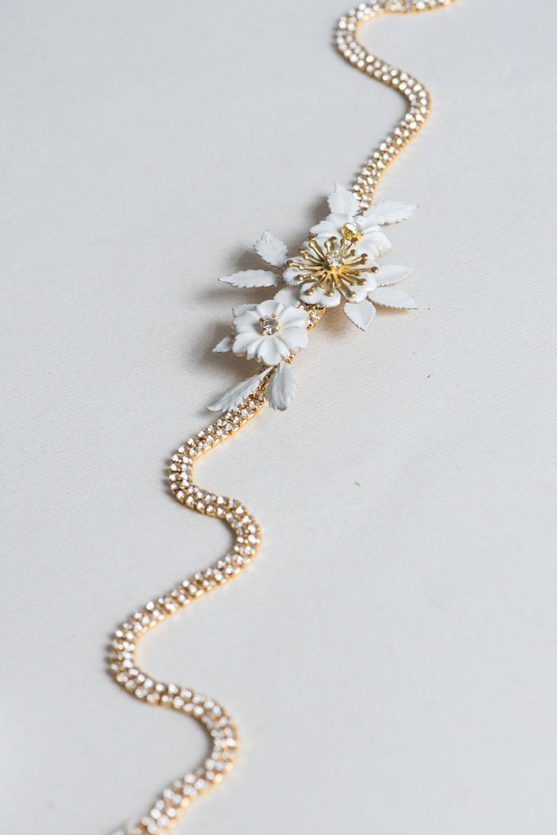 Gold rhinestone sash Thin gold sash Thin bridal belt