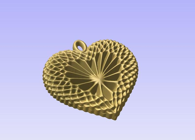 Heart shaped pendant 3D STL model for cnc carving vectric