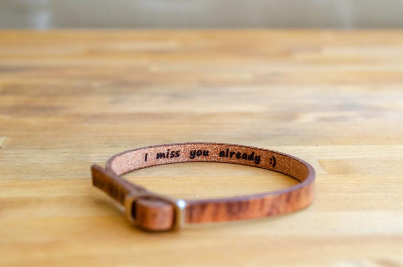 I miss you already-Secret Message Leather Bracelet