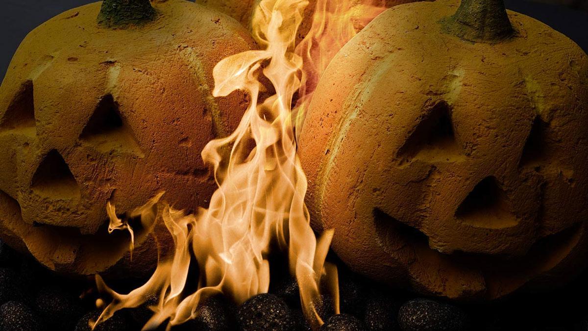 Jack-o'-Lantern Fire Pit & Fireplace Logs