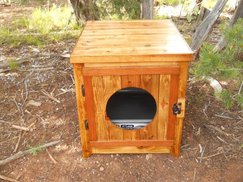Jumbo Cedar Kitty Litter Cabinet  Front Entry Golden Oak