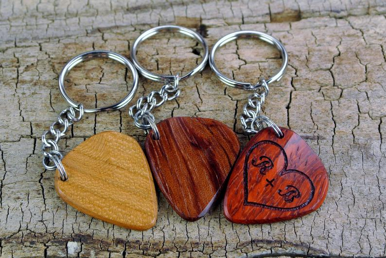 Keychain  One Custom Engraved Wooden Guitar Pick Keychain