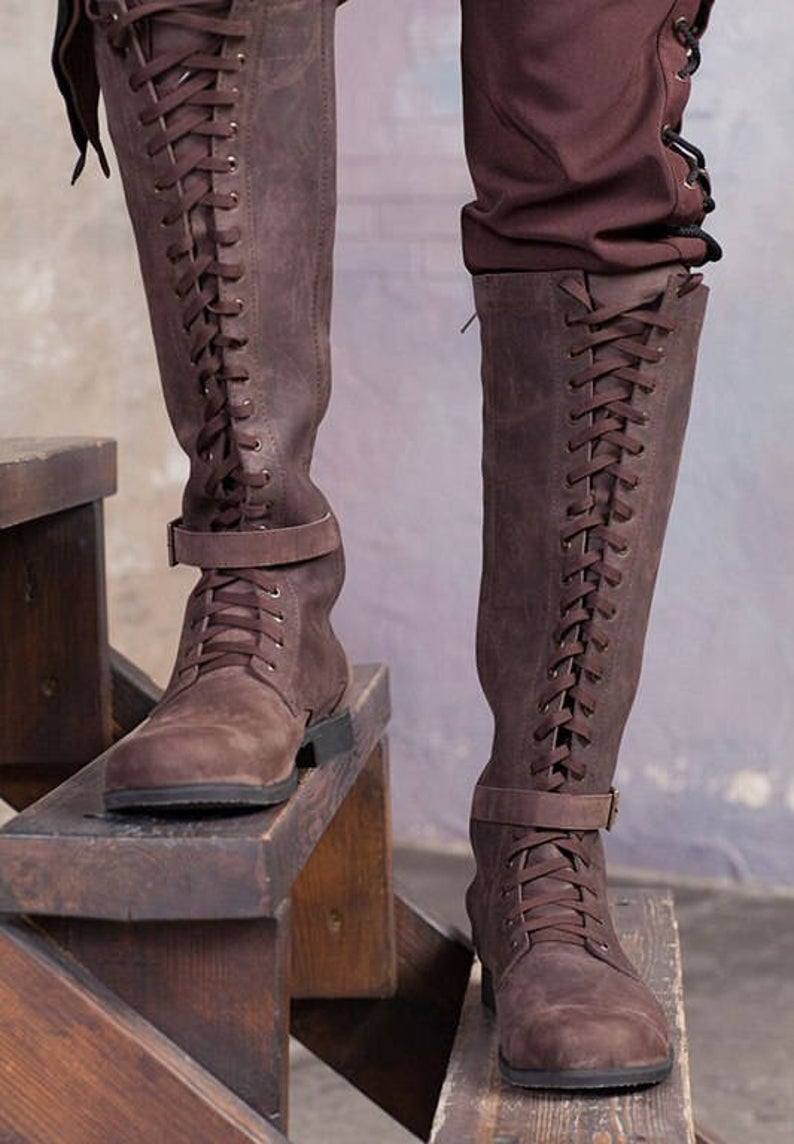 Knee high mens boots / Lace up medieval leather boots /