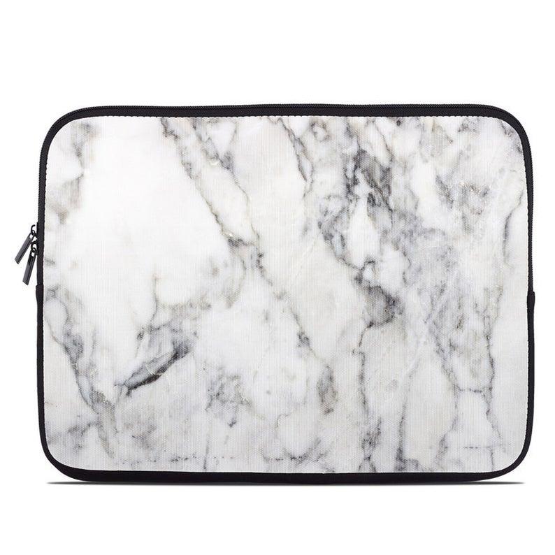 Laptop Sleeve Bag Case  White Marble  Neoprene Padded  Fits