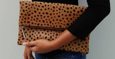 Leopard clutch Genuine leather leopard fold over clutch