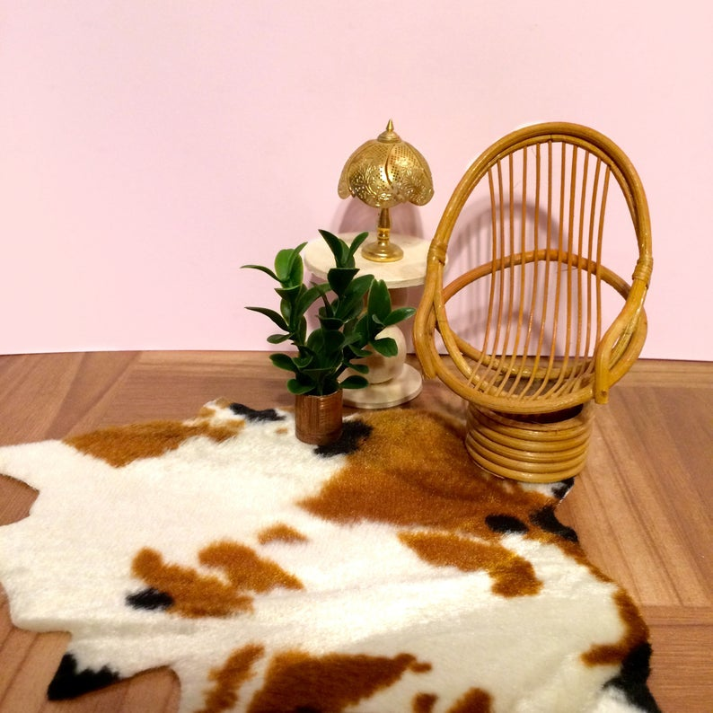 Mini Faux Brown and White Cowhide Rug